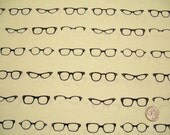 Riley Blake, Geekly Chic, Eye Glasses, Off White, Dorothy Tsang, Designer Cotton Quilt Fabric, Black & White Fabric, Quilting Fabric