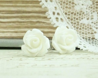 Flower Stud Earring Rose Studs Off White Earrings Rosebud Earrings Hypoallergenic Studs Rose Earrings