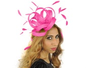 Fuchsia Fireball Fascinator Hat for Weddings, Races, and Special Events With Headband