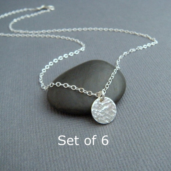 "bridesmaid necklaces. Set of 6 - silver circle necklace. tiny. sterling. charm. simple hammered circle. dainty. delicate. 3/8"". bridal gifts"