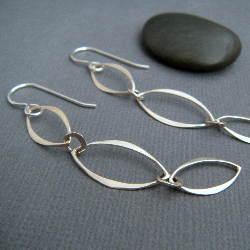 long simple silver earrings. chain earrings. sterling silver