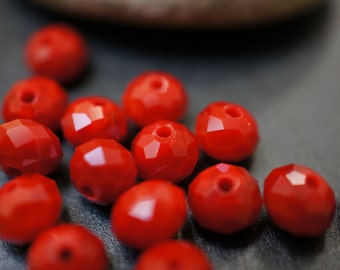 Czech Glass Faceted Solid Fire Red Rondelle Beads - 6x5 - 20 pcs