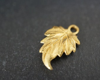 Solid Brass Tree Leaf Filigree Charm Pendants with Back Hooks - 18mm x12mm - 2 pcs
