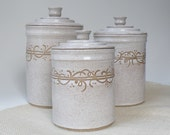 White Kitchen Canisters, Set of 3 MADE TO ORDER Storage and Organization, Ceramic Lidded Jars, Handmade Kitchen Canisters, Food Storage