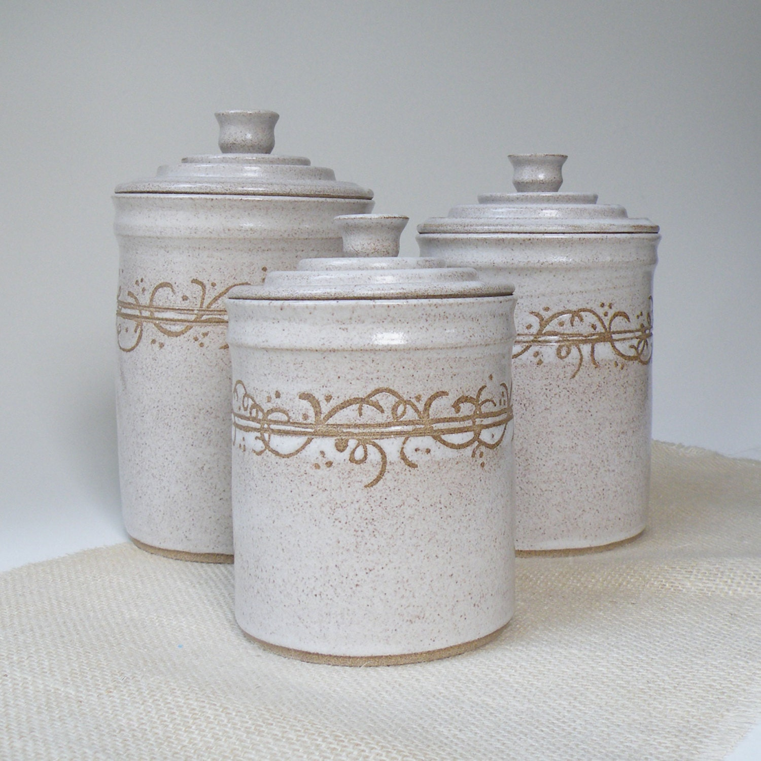 White kitchen canisters set of 3 made to order storage and for Bathroom canisters ideas
