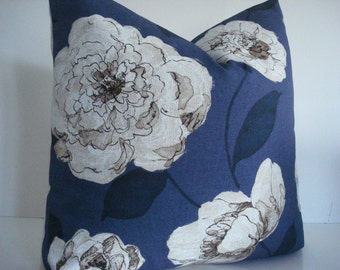 BOTH SIDES-Navy Floral Throws and Lumbars- -Decorative Designer Pillows, Deep Navy / Creamy Ivory and Tan Floral Toss  Pillow