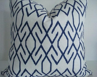 BOTH SIDES -Navy and Creamy Ivory Ikat-Lacefield- Zoe- -Decorative Designer Pillows, Deep Navy / Creamy Ivory Geometric Throw/Lumbar  Pillow