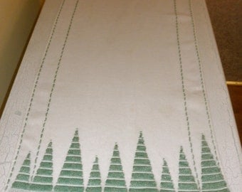 vintage open weave linen long dresser scarf white with green embroidery on both sides
