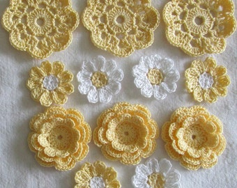 Yellow Crochet Flower Appliques, Embellishments, Variety  - set of 12