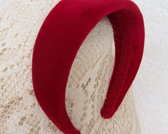 wide velvet headband red