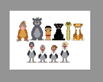 Jungle Book Pixel People Cross Stitch Pattern PDF ONLY