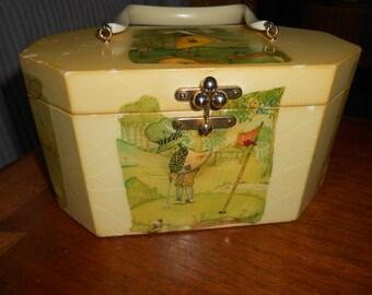 Vintage Annie Laurie Originals Palm Beach Holly Hobbie Golf and Tennis Lucite Box HandBag