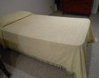 Vintage Yellow Chenille Bedspread