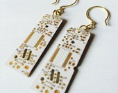 White Wonder Gold Upcycled Computer Board Earrings