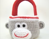 Easter Basket Sock Monkey Home Decor Crochet Pattern PDF INSTANT DOWNLOAD