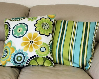 """One Mill Creek Decorative Summer Throw Pillow in Flowers OR Stripes - 18"""" Covers, Lime Green, Turquoise, Yellow Gold,  B2-1"""