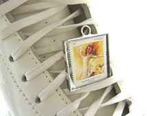 Figure Skater Postage Stamp Canadian Jewelry Pendants Vintage Barbara Ann Scott Peggy Fleming Sonja Henie