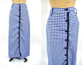 1960s skirt vintage 60s blue white gingham long maxi L