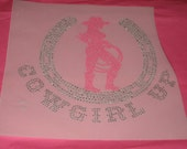 Cowgirl with Lariat Rope in Pink Standing in Silvery Clear Horse Shoe Cowgirl Up Diy Transfer