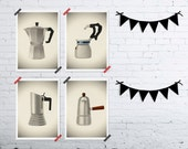 Set of four MINI prints Vintage Italian coffee makers 5 x 7 kitchen home decor coffee lovers