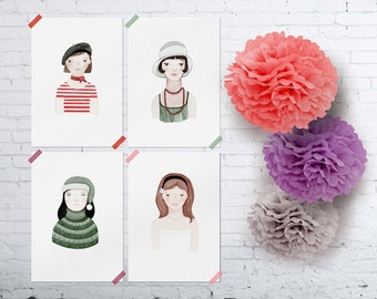 Set of four prints The Girls 8 x 11.5 funny romantic young whimsical kids room