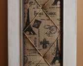 Paris Themed  White Distressed Message Board w/ Antique Hook
