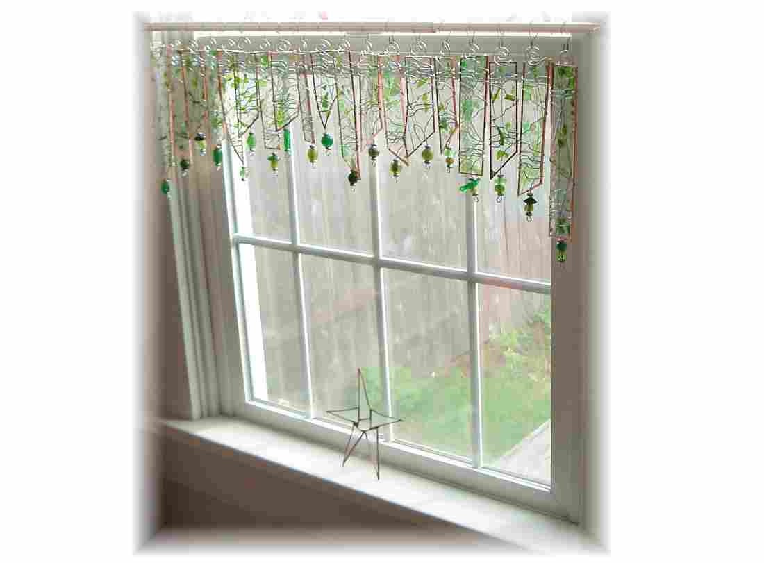 Herbal fresh green stained glass window treatment valance for Stained glass kitchen windows