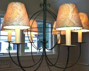 Ocean Chart Chandelier Lampshades, Wall Sconce Shades, Made to Order, Custom MapShades, Tiny Lamp Shade, Nautical Decor, Chandelier Shades