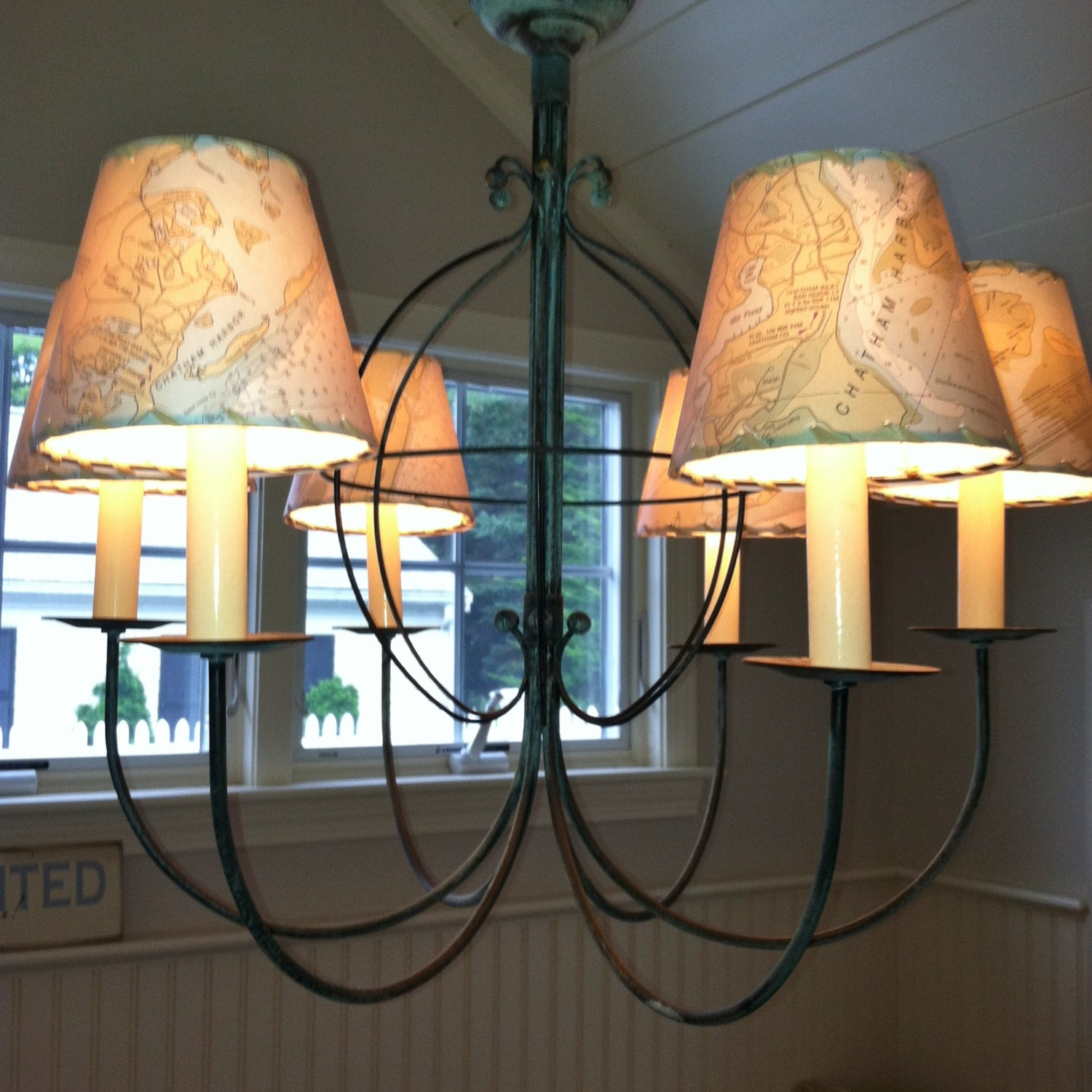 Ocean chart chandelier lampshades wall sconce shades made to zoom amipublicfo Gallery