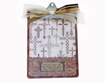 Altered Clipboard Christian Cross