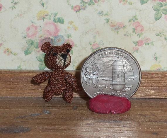 Micro Crochet Bear 3/4 inch  Baby Bear Thread Artist Crochet Ready to Ship