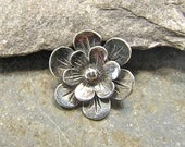 Sterling Silver Flower Shank Button - Rustic Petals - 1 Piece - Perfect For Leather Wrap Bracelets - Artisan Sterling Silver Findings - rpsb
