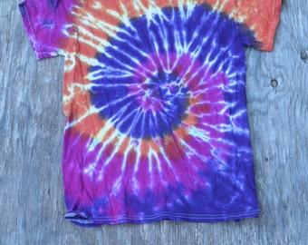 Autumn Nights Spiral Tie Dye T-Shirt (Gildan Size S) (One of a Kind)