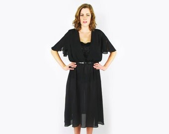 Bead Fringe Dress Angel Sleeve Dress Flutter Sleeve Black Dress Sheer Dress Midi Dress 70s Dress Disco Dress Goddess Dress Party Dress M