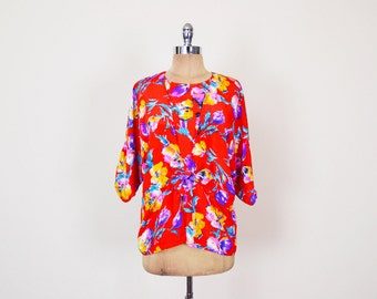 Vintage 80s Floral Blouse Red Floral Print Blouse Batwing Blouse Batwing Sleeve Blouse Dolman Sleeve Top Slouchy Oversize 80s Blouse M L