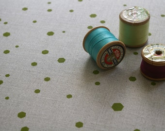 hexadots - hand screen printed fabric panel in apple green on cotton or linen