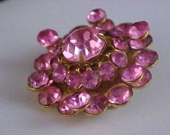 Free Ship~CHARMING Pink Sapphire Rhinestone Gold Plate Brooch