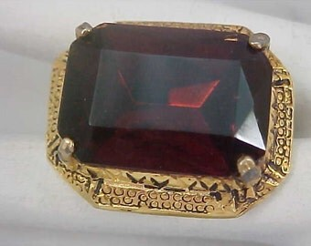 Massive TOPAZ Art Glass Stone Bezel Set in Gold Plate Brooch