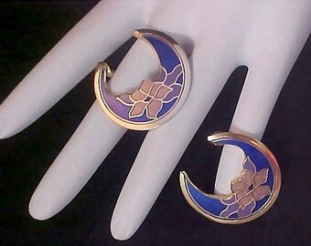 Designer SKYE~RARE Cobalt CLOISONNE Half Moon Post Earrings