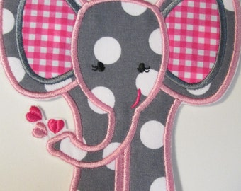 Elephant with Hearts Iron On Applique