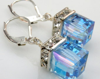 Aquamarine Teal Crystal Earrings, Sterling Silver, Blue Topaz Swarovski Cube, Drop Spring Bridesmaid Wedding Jewelry, March Birthday Gift