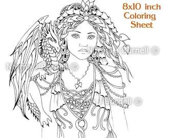 Cybele and Kaida Little Dragon Fairy Tangles digital Printable