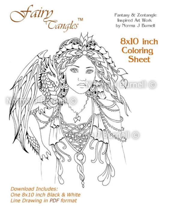 fairy queen of dragons fairy tangles adult printable coloring sheets coloring book pages by norma j burnell fairies and dragons to color - Coloring Pages Dragons Fairies