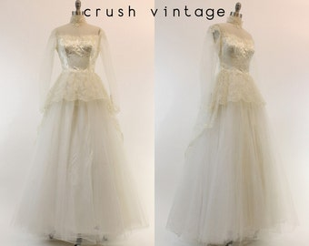 50s Wedding Dress Lace XS 1950s Gown Dreams Come True Bridal