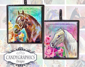 Vintage Horses 3 - Digital Collage Sheet - .75 x .83 inches - great for scrabble tile pendants - Buy 2 Get One FREE