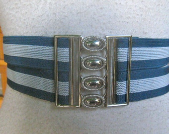 50s BLUE STRIPE DOUBLE Strap Cinch Stretch  Belt 1950s Sz 28 To 34 Waist Large