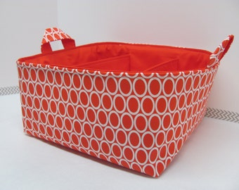 NEW Fabric Diaper Caddy - Fabric organizer storage bin basket - Perfect for your nursery - Oval Red