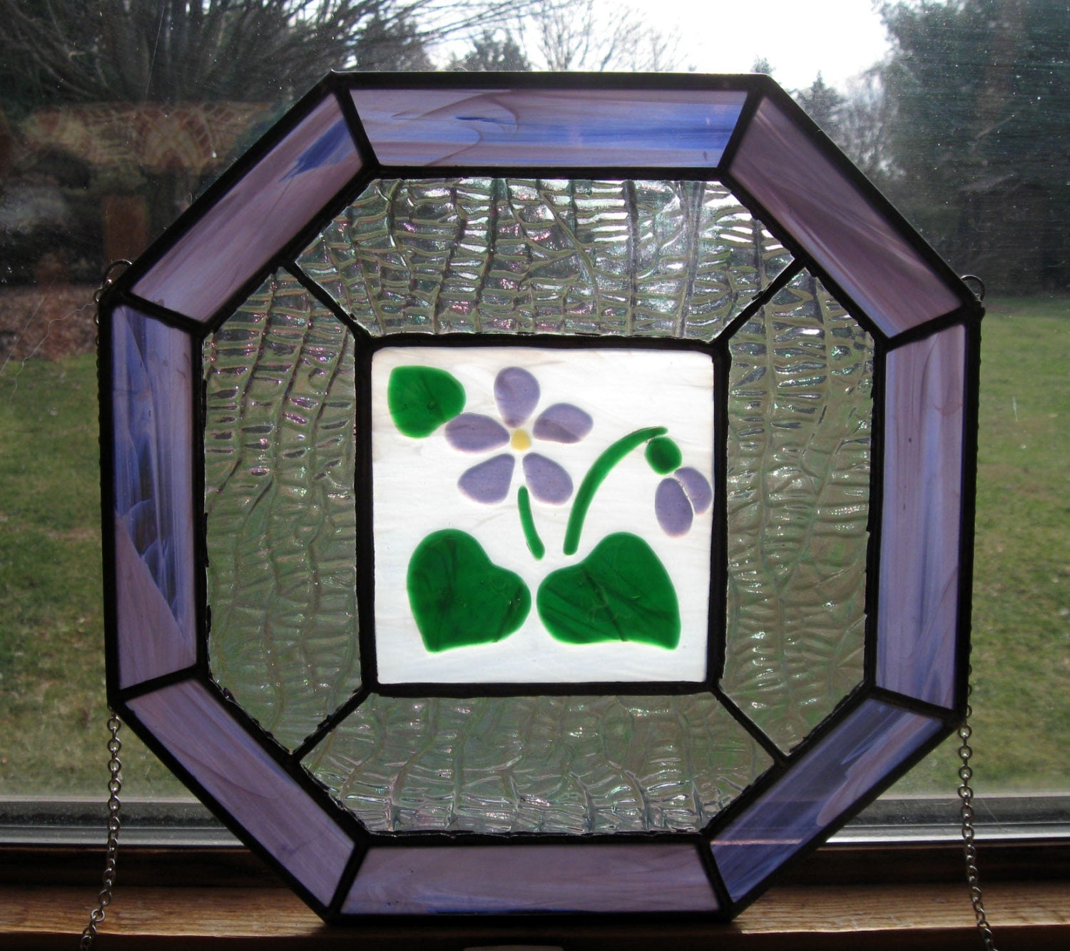 Violet Stained Glass Window Panel With Fused Center Square Sun