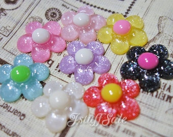Colorful resin flowers - 8 pcs Mix (A-147)