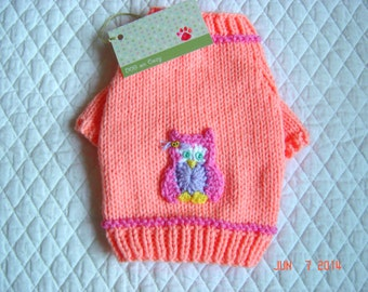 Appliqued Dog Sweater, Hand Knit Pet Sweater, XSMALL, Hootie Peach